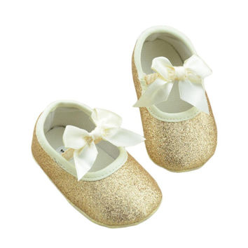 2016 HOT Glitter Baby Shoes Flash Gold Bow Soft Bottom Sneaker Anti-slip Soft Sole Toddler