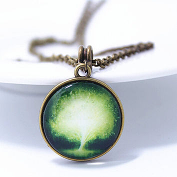 Vintage Style Handmade Galaxy Tree Necklace Gift 129