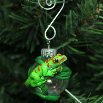 Day Gecko Christmas ornament glass ball Polymer clay
