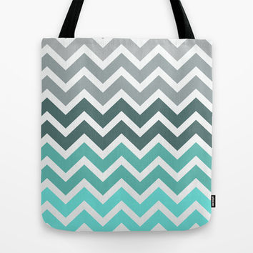 Tiffany Fade Chevron Pattern Tote Bag by RexLambo