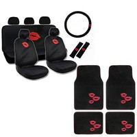 Licensed Official New Red Lip Kiss Back Car Front Back Floor Mats Seat Covers Steering Wheel Cover