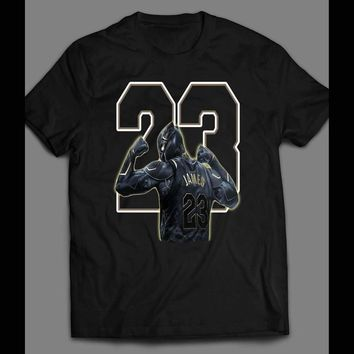 72a5033528d6 MARVEL S BLACK PANTHER LEBRON JAMES NIKE MASH UP CUSTOM ART T-SH