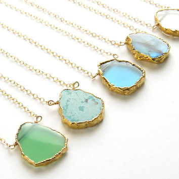 Gemstone Slice Necklace • Organic Shaped Slice in Gold vermeil • Simple Gemstone Jewelry • Gold Edge Stone • Layering Necklace