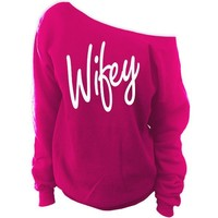 Wifey Off-The-Shoulder Oversized Slouchy Sweatshirt