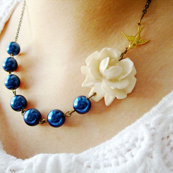 Navy Blue Jewelry,Bridesmaid Necklace,Nautical Jewelry,Flower Necklace,Ivory Jewelry  (Free matching earrings)