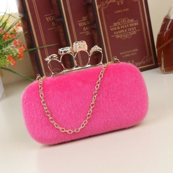 2017 NEW Noble Women Velvet Clutch Purse Cute Small Evening Bags Bridal Handbags BLACK/BLUE/PINK/RED Wedding Shoulder Bag