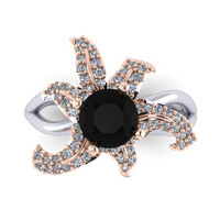 Flower Lily Natural Black Diamond Engagement Ring Center Unusual 14K Rose and White Gold Women's Jewelry Conflict Free Genuine  - V1124