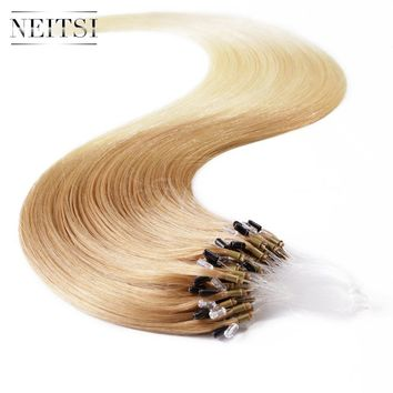 "Neitsi Micro Loop Ring Beads Remy Human Hair Extensions Easy links Brazilian Virgin Straight Hair Piece 20""1g/s 50g T27/60#"
