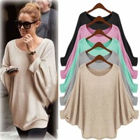 Women Batwing Sleeve Knitted Sweater Tunic