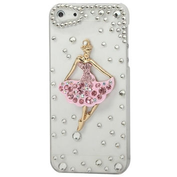 Stylish Ballet Girl Pattern Diamond Crystal Case for iPhone 5