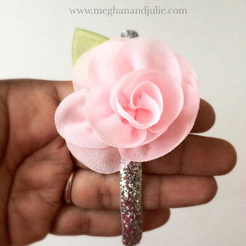Girls Pink and Silver Sparkly Hard Headband / tiara headband / Teens Headband / Tweens Headband / Pink Chiffon Flower Headband