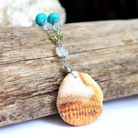 Hawaii Beach Stone Necklace by Mermaid Tears, orange Hawaiian ocean rock with natural gemstones
