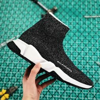 Balenciaga Stretch Knit Speed Trainers With White And Black Sole Sneaker - Best Online Sale