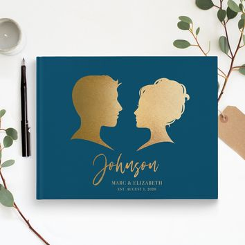 Foil Silhouette Traditional Guest Book