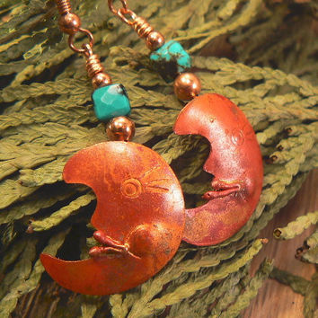 Copper moon earrings with turquoise beads by 3cedarsjewelry