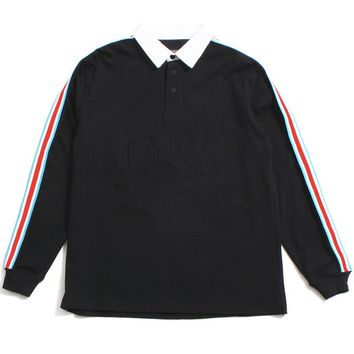 Nowhere Striped Rugby Black