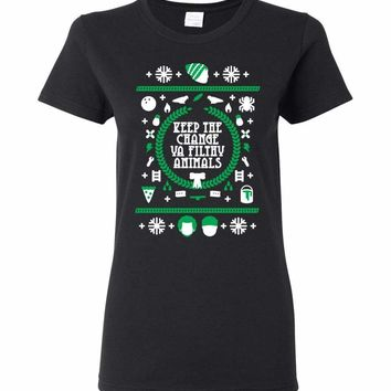 Keep The Change Ya Filthy Animals Ugly Holiday Design Ladies T-Shirt