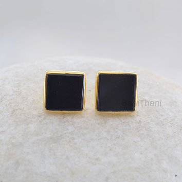 Genuine Superb Black Onyx Square 9mm Flat Stud Micron Gold Plated 925 Sterling Silver Earring Jewelry - #6617