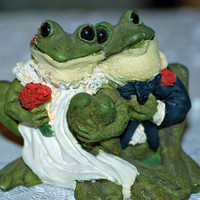 WEDDING FROGS Bride and Groom Frog Figurine Wedding Table Decoration, Bridal Gift Tuck In Hey Frog Collectors AnnsWhimsey