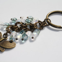 Metal Butterfly Charm Keychain with Czech Glass Beads