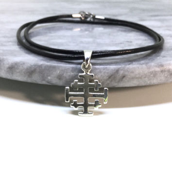Crusader's Cross Sterling Silver Jerusalem Cross Necklace Silver Christian Cross Pendant Silver Knigths Cross