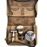 Men's Shaving Kit - Wet Shaving Toiletry Bag - Vintage Style Shaving Case