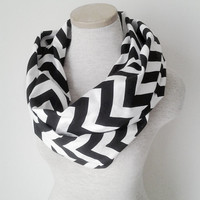 Black and White Chevron Infinity Skinny Scarf - Jersey Knit