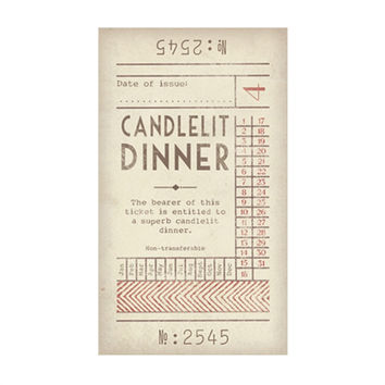 Candlelit Dinner Promise Ticket with Envelope