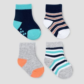Baby Boys' 4pk Car Crew Socks - Just One You® made by carter's Navy/Gray 0-3M