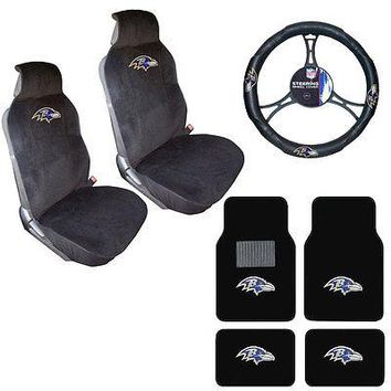 Licensed Official NFL Baltimore Ravens Car Truck Seat Covers Steering Wheel Cover & Floor Mats