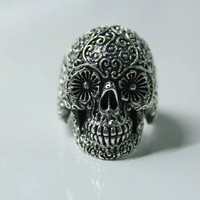 Sugar Skull Ring Sterling Silver Stacking, Handforged Sterling Silver Ring, Day of the Dead Filigree, Simple Silver Floral Ring