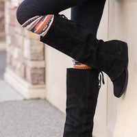 Arctic Hit Fold Over Tall Suede Boots in Black