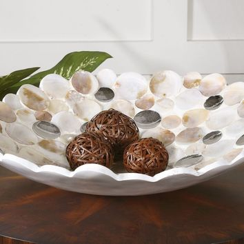 Capiz Shell Accented Bowl By Uttermost