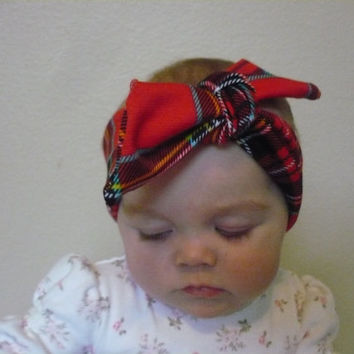 Baby Headwrap Red Plaid Headband Baby Girl Headband Baby Turban Headband Newborn Headband Toddler Headband Infant Preemie Goodtreasures123