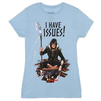 Loki I Have Issues Thor Marvel Comics Licensed Women's Junior T-Shirt - Blue