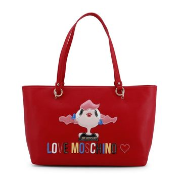 New! Love Moschino Red Kiss Shopping Bag