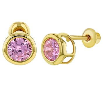 18k Gold Plated Screw Back Girls Earrings Pink Crystal Round Bezel Set 5mm