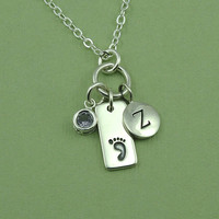 Personalized Baby Foot Necklace - sterling silver newborn necklace - gift for new mom - birthstone