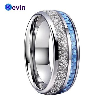 Men Women Wedding Band Rings Tungsten Band With Light Blue Carbon Fiber And White Meteorite Inlay