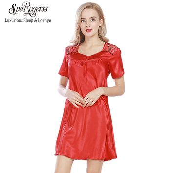 SpaRogerss Luxurious Women Nightgowns 2017 New Faux Silk Lady Summer Sleepshirts Female Dressing Gowns Sleep Lounge Woman SQ313