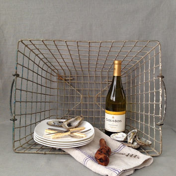 French oyster baskets 1940s old painted finish, modern rustic French country farmhouse, kindling, blankets, picnic, decor, sold individually