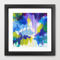 WINTER DREAMING - Jewel Tone Colorful Eggplant Plum Periwinkle Purple Chevron Ikat Abstract Painting Framed Art Print by EbiEmporium | Society6