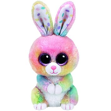 "Pyoopeo Original 10"" 25cm Medium TY Beanie Boos Bubby Multicolor Bunny Rabbit Plush Stuffed Animal Collectible Doll Toy"