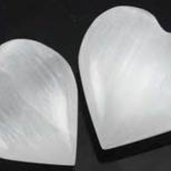 "White Selenite heart  1 1/4"" - 2"""