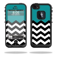 MightySkins Protective Vinyl Skin Decal Cover for LifeProof iPhone 5 / 5S Case fre Case Sticker Skins Teal Chevron