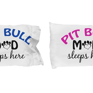 DogsMakeMeHappy Pit Bull Mom and Dad Pillow Cases gifts idea (Dad)