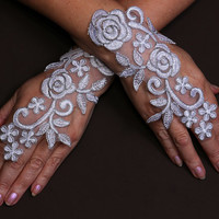 Wedding White Gloves Lace Gloves Lace with Gold Edge Gloves Fingerless Gloves Guipure Gloves Bridal Gloves Formal Gloves Party Gloves