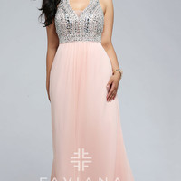 V-neck Plus Size Long Faviana Prom Dress