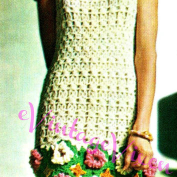 Chic Flower Dress INSTANT DOWNLOAD 1960s Boho Hippie Cottage Chic Beautiful Flower Power Vintage Crochet Pattern Mini Free Gift Sleeveless