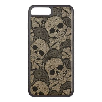 Sugar Skull Pattern Carved iPhone 7 Plus Case